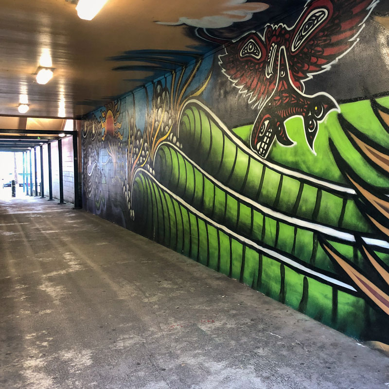 Pedestrian Tunnel Art Mural in Port Angeles, WA