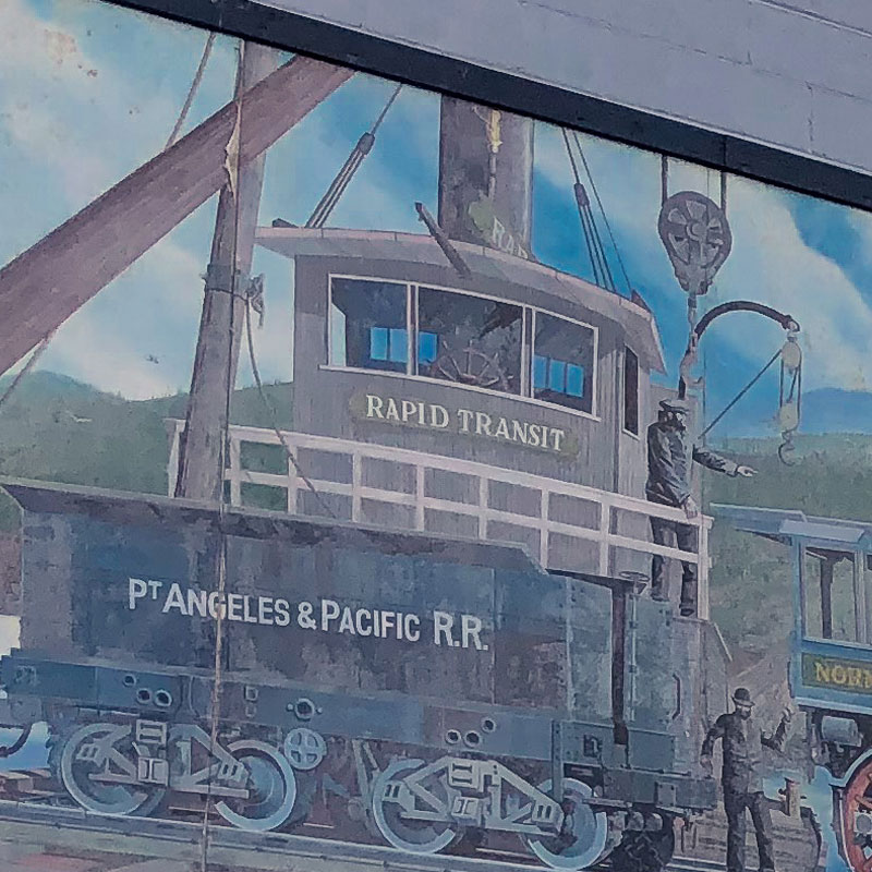 Port Angeles Railroad Art Mural in Port Angeles, WA